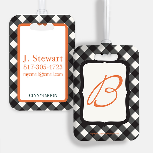 Luggage Tag, Halloween Gingham - GinnyMoon