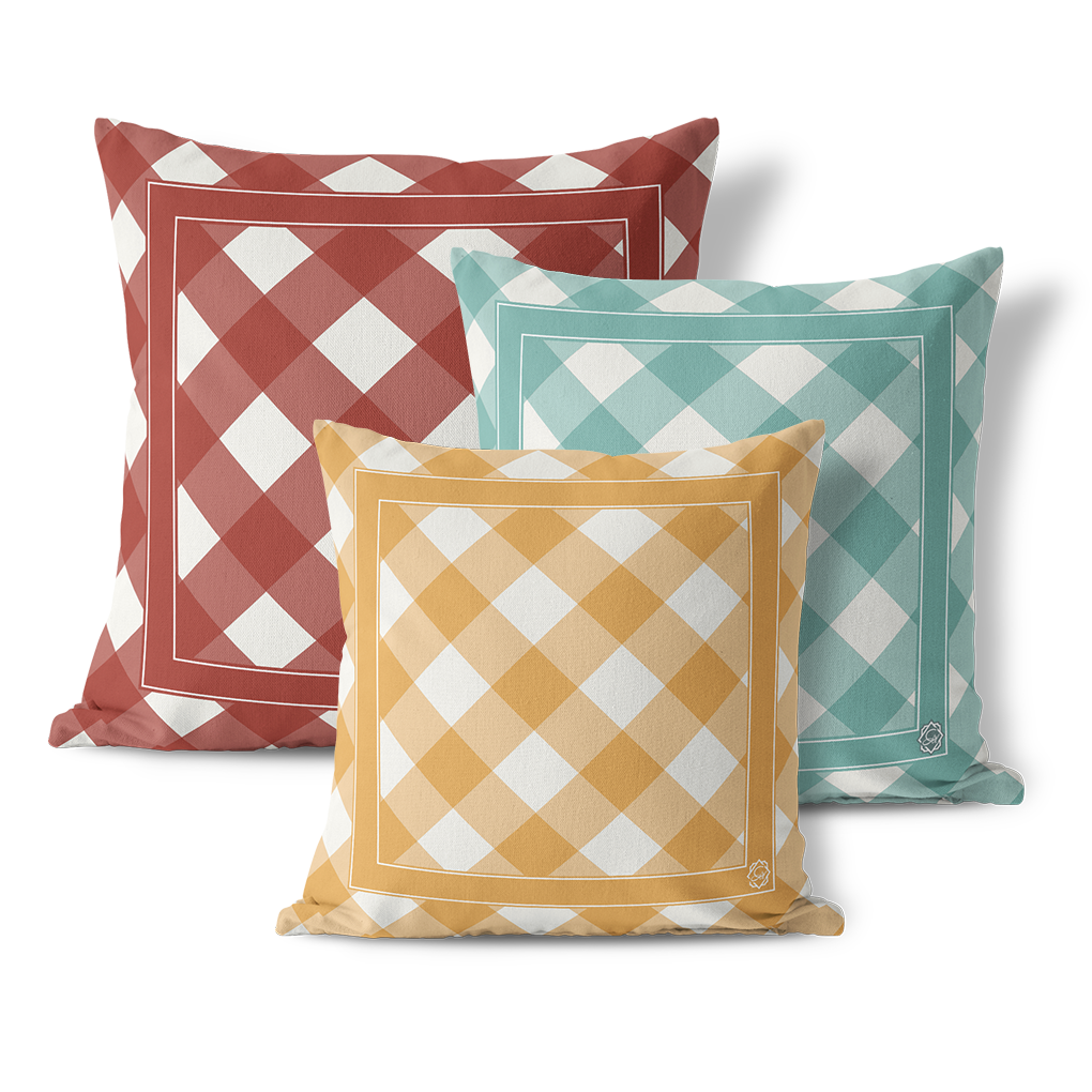 Indoor Outdoor Pillows, Fall Gingham - GinnyMoon