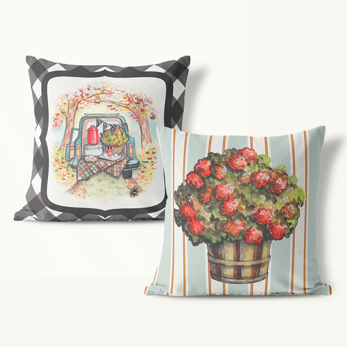 Indoor Outdoor Pillows-Gingham or Stripe Fall Icon - GinnyMoon