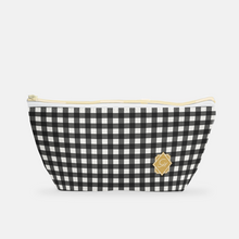 Cosmetic Bag, Small T-bottom in Tailgate Mini Check - GinnyMoon