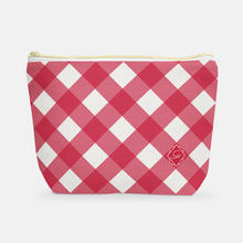 Cosmetic Bag, Large T-Bottom Gameday Gingham - GinnyMoon