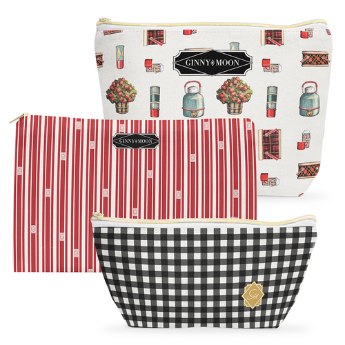 Cosmetic Bag 3 Piece Set- Warm White Vintage Tailgate - GinnyMoon