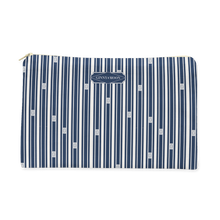Cosmetic Bag, Large Flat in Trellis Ticking - GinnyMoon