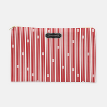 Cosmetic Bag, Large Flat in Warm Fall Red Trellis Ticking - GinnyMoon