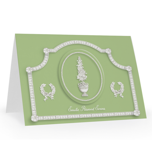 Jasper Topiary Folded Notecards, Personalized Set of 15