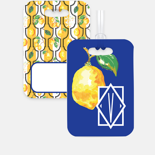 Personalized Luggage Tag, Blue Sunny Lemon - GinnyMoon