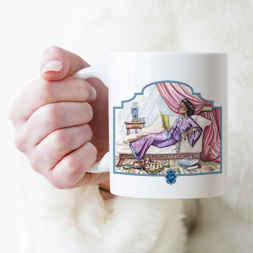 Ladies of Leisure Mug, Puppies & Pages 11 0r 15 oz. - GinnyMoon