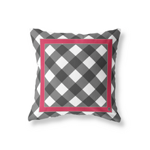 Pillow in Black/Cherry Red Everyday Gingham - GinnyMoon