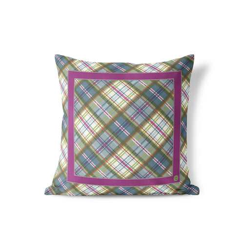 Indoor Outdoor Pillow, Plum/Orchard Plaid - GinnyMoon