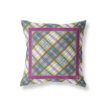 Large Throw Pillow in  Plum/Orchard Plaid - GinnyMoon