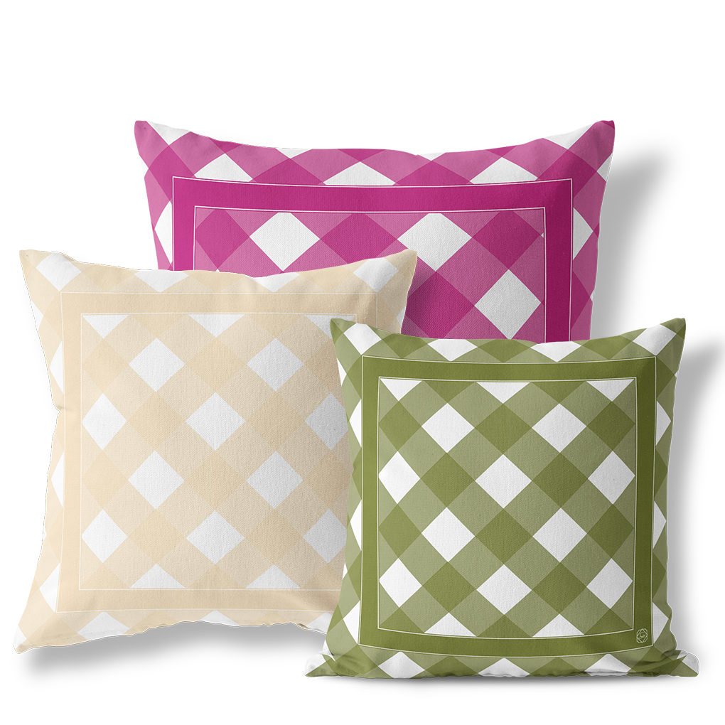 ... Indoor Outdoor Pillows June Garden Gingham   GinnyMoon ...