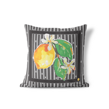 Indoor Outdoor Pillows-Blue or Black Lemon Icon - GinnyMoon