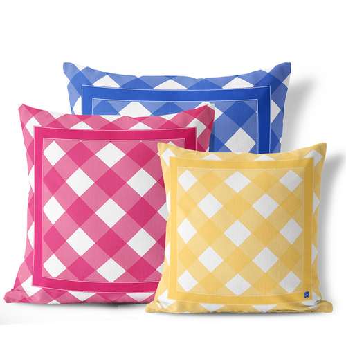 Indoor Outdoor Pillows-Sunny Lemon Gingham - GinnyMoon