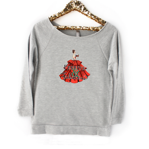 Festive & Fabulous Tee, Raw Edge Raglan in Heather Gray - GinnyMoon