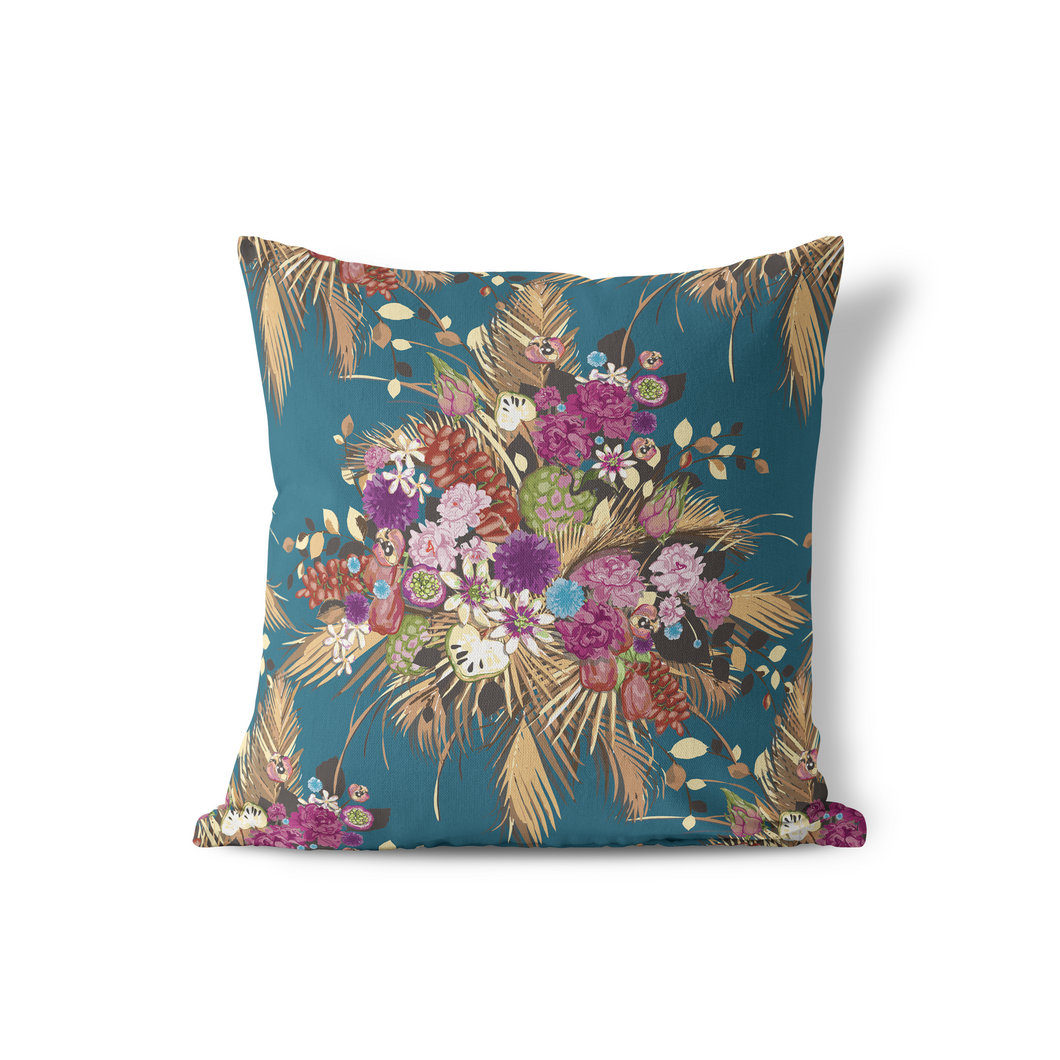 Pillow Cover, Deep Blue Rustling Palm Floral - GinnyMoon