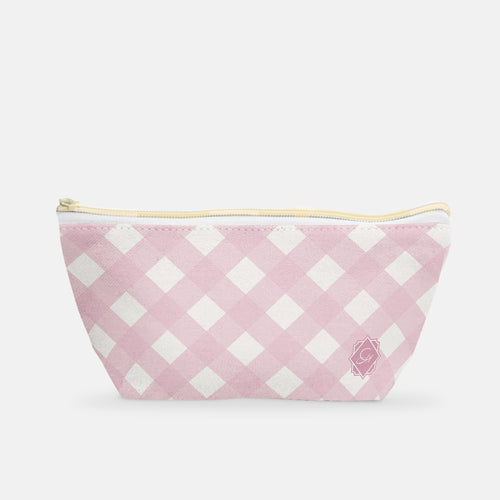 Cosmetic Bag, Small T-bottom in Warm Blush Gingham - GinnyMoon