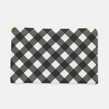 Small Flat Cosmetic Bag in Black Everyday Gingham - GinnyMoon