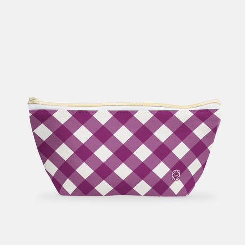 Small T-Bottom Cosmetic Bag in Rich Plum Gingham - GinnyMoon