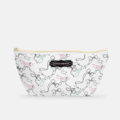 Small T-bottom Cosmetic Bag in Holiday Ribbon Scatter - GinnyMoon