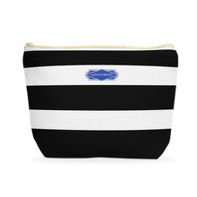 Cosmetic Bag, Large T-Bottom Lemon Stripe - GinnyMoon