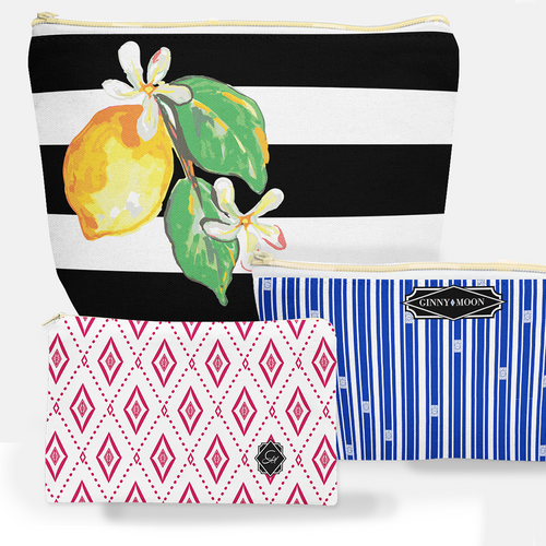 Cosmetic Bag 3 Piece Set- Sunny Lemon - GinnyMoon