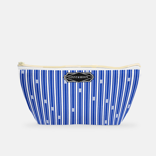 Cosmetic Bag, Small T-bottom in Blue Trellis Ticking - GinnyMoon