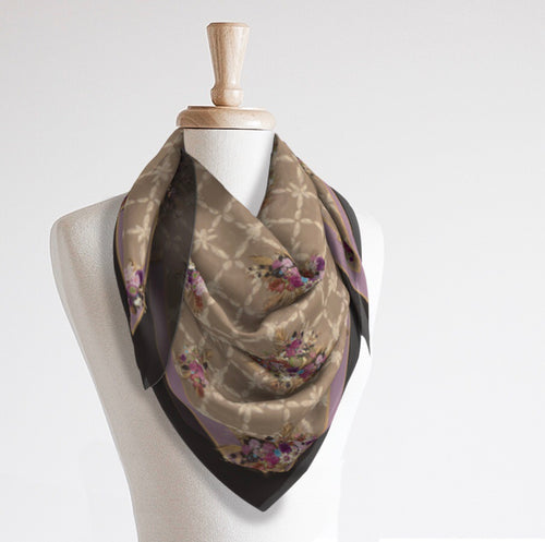 Oversized Satin Scarf, Blue or Plum Rustling Palm - GinnyMoon