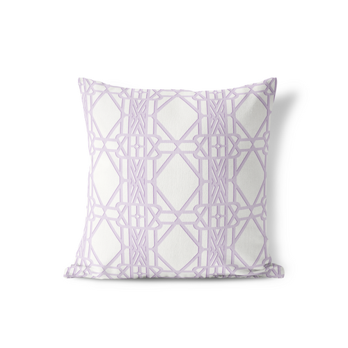 Pillow in Soft Lavender Trellis, Choice of Sizes - GinnyMoon