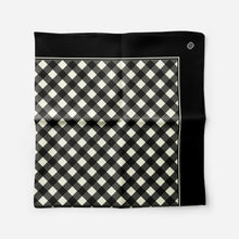 Jim Dandy Mini Scarf in Black Gingham Satin - GinnyMoon