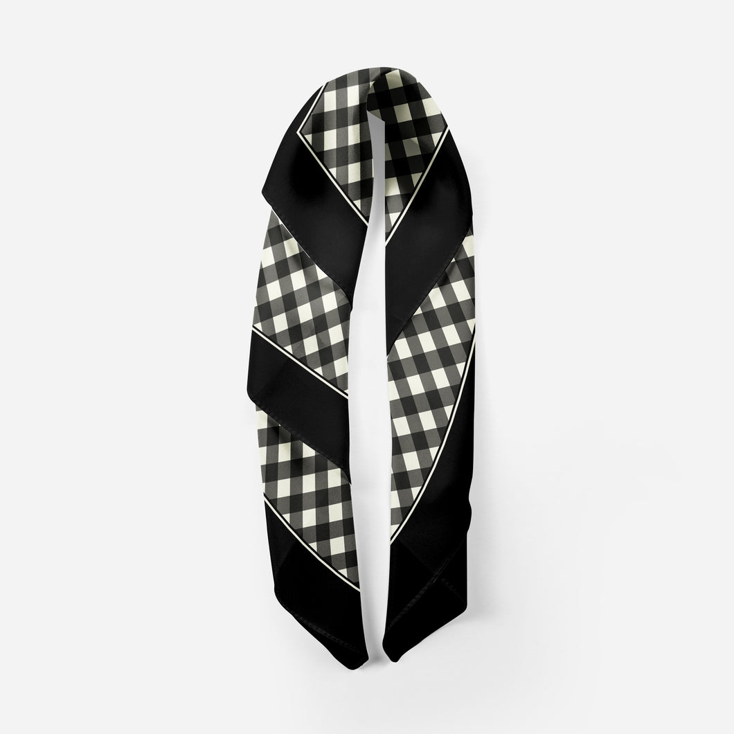 Oversize Satin Scarf in Black Classic Gingham - GinnyMoon