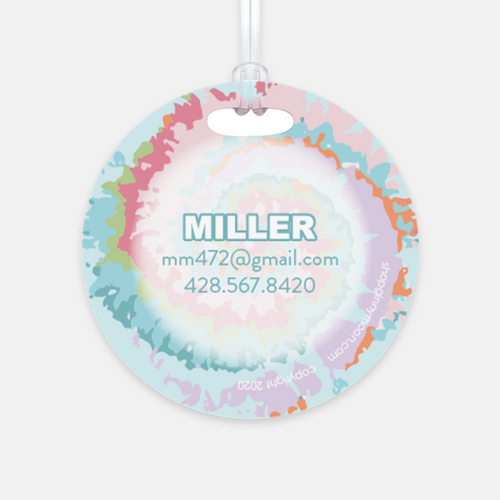 Personalized Luggage Tag, Sunwashed Tie Dye - GinnyMoon
