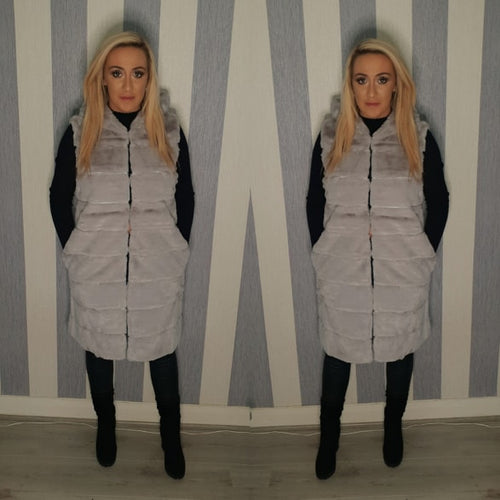 Long Faux Fur Hooded Gilet - Grey