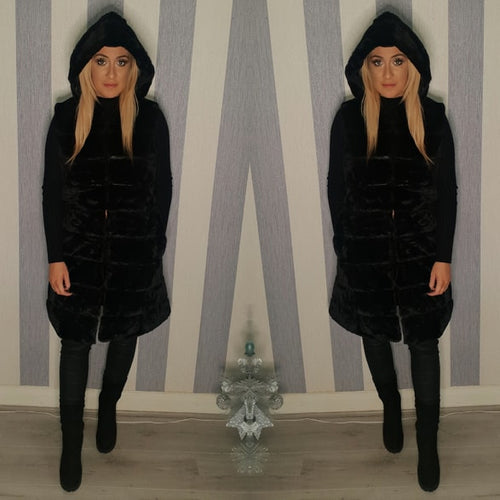 Long Faux Fur Hooded Gilet - Black