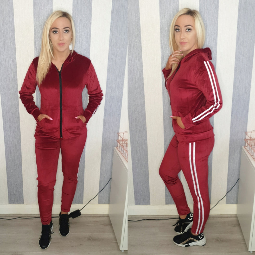 Velour Tracksuit - Wine