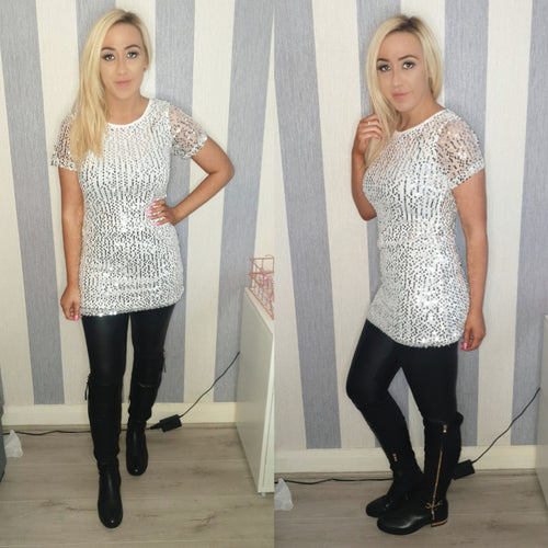 Sequinned tee dress -Silver