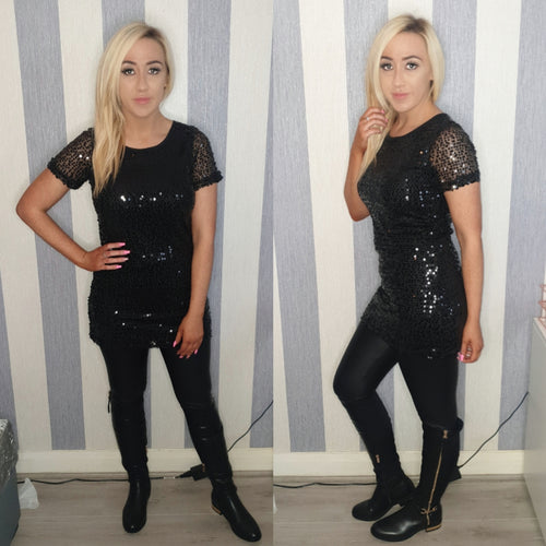 Sequinned Tee Dress-Black