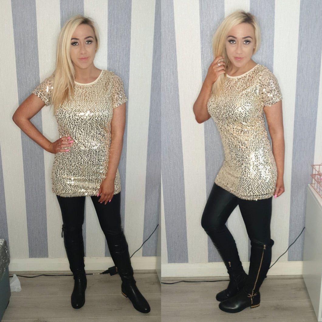 Sequinned Tee Dress -Gold