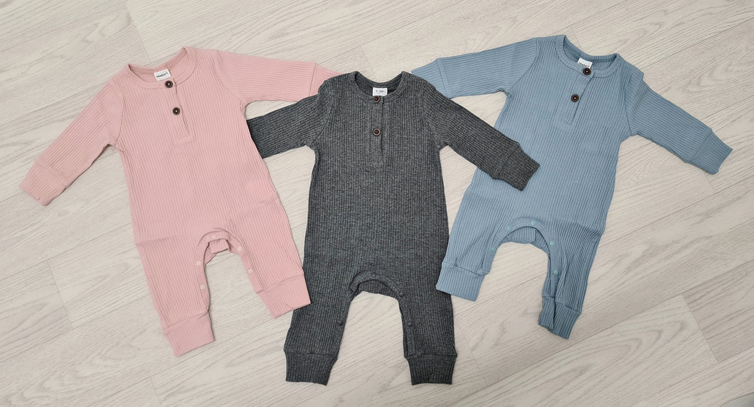 BABIEZ - KNITTED COTTON SLEEPSUITS - 3 COLOURS