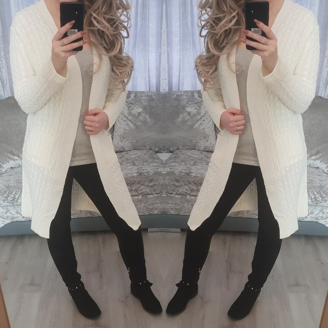 Plain cardigan - white