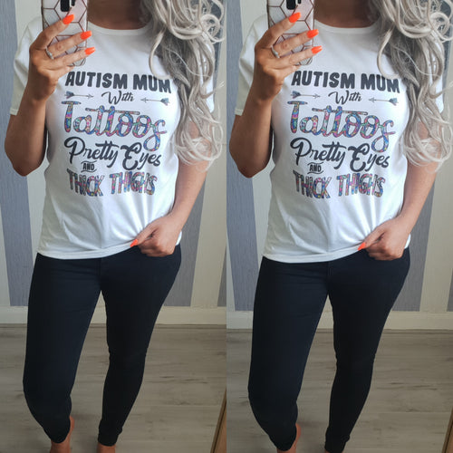 Autism Mum With Tattoos Top - White
