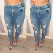 Tie High Waist Ripped Jeans