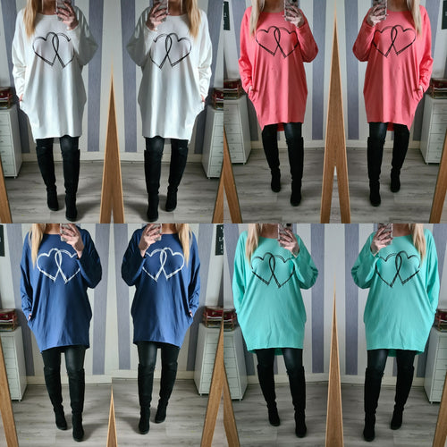Oversized Heart Top - 4 Colours