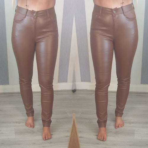 Paris Wax Look Jeans -Tan