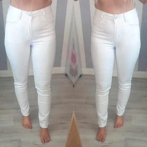 Paris Wax Look Jeans -White