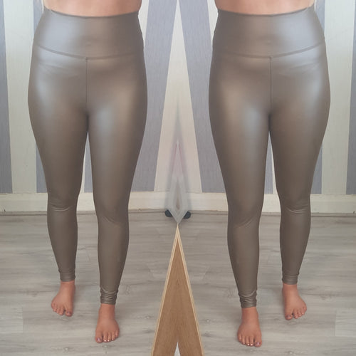 Wax Look High Waisted Leggings -Tan