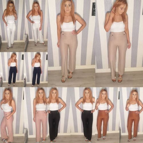 Flared Glitter Stripe Trousers - 6 Colours
