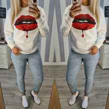 Oversized Red Lips Print Sweatshirt - 2 Colours