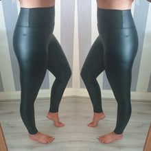 Wax Look High Waisted Leggings -Black