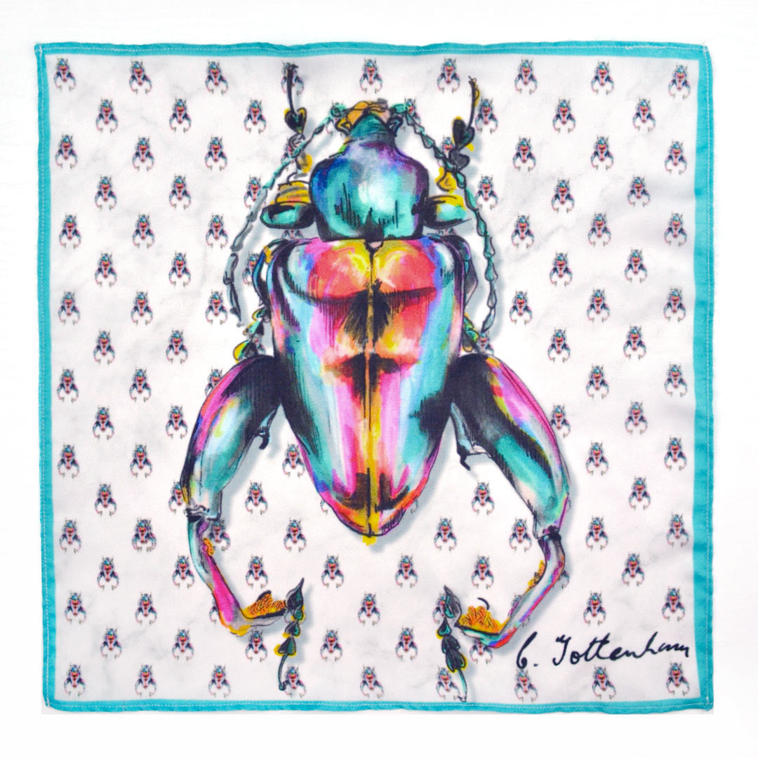 Frog Legged Beetle Silk Square with beetle polka dot