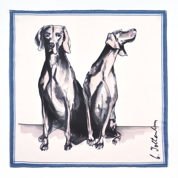 Dog pocket square grey weimaraner silk
